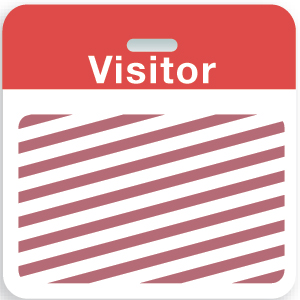 "Expiring Clip-on Badge Back Part w/ Red ""Visitor"" Top Bar"