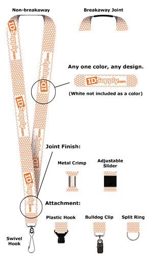 "1"" One Color Print Lanyard (Dual Sided)"